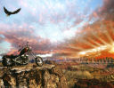 Eagle in desert sunset with chopper motorcycle background paper