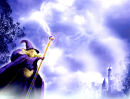 Wizard with lightning coming out of his staff fantasy background paper for Name or Poem plaque